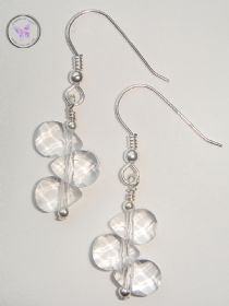 Clear Quartz Faceted Drop dangle Earrings